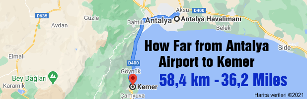 How Far from Antalya Airport to Kemer